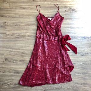 NWT DVF Brenndah sequin surplice-front dress red 0